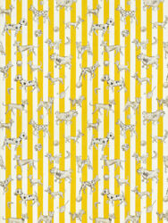 Clarence House Dogs Dice Stripes Toile Fabric 10 Yards Sunflower