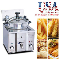 2400w 16l Commercial Electric Countertop Pressure Fryer Stainless Chicken Device