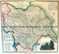 Antique Map 4-196 Yorkshire England by I. Slater c.1846