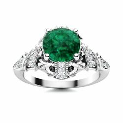 14k White Gold Natural Aaa Emerald And Si Diamond Engagement Ring Vintage Art Deco