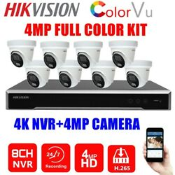 Hikvision 8ch 4mp 24/7 Full Color Bulit-in Mic Camera Home Security Cctv System