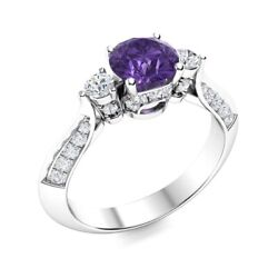 14k White Gold Genuine Aaa Amethyst And Si Diamond Three Stone Engagement Ring