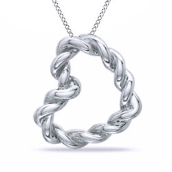 Rope Heart Pendant In Sterling Silver With 18 Chain Necklace Valentine Gifts