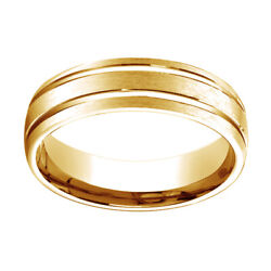 14k Yellow Gold 6mm Comfort Fit Satin Finish W/ Parallel Grooves Band Ring Sz 6