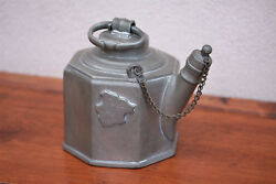 Very Rare Early 18th Century Swiss Octagonal Pewter Wine Can Dated 1730