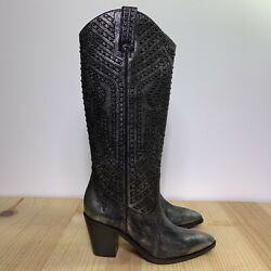 Frye Faye Stud Pull On Size 7 Anthracite Western Boots Womens $99.50