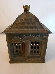 Antique 1890 Cast Iron Home Savings Coin Bank With Dog Finial By J. And E. Stevens