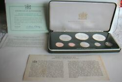 1976 Trinidad And Tobago 8 Coin Proof Set In Box W/coa Info Cards And Sleeve