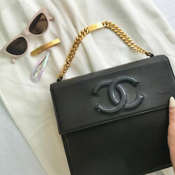 Vintage CHANEL Square Design CC Mark Logo Chain Bag Black