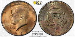 1968-d Pcgs Ms64 Kennedy Silver Half Dollar .50 Cents Orange Gold Color Toned