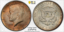 1968-d Pcgs Ms64 Jfk Kennedy Silver Half Dollar .50 Cents Color Toned 1303