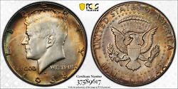 1968-d Pcgs Ms64 Jfk Kennedy Silver Half Dollar .50 Cents Color Toned 1305