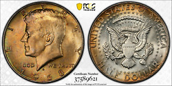 1968-d Pcgs Ms63 Jfk Kennedy Silver Half Dollar .50 Cents Color Toned 1326