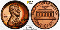 1966 Sms Lincoln Memorial Cent Pcgs Sp65rd Crescent Moon Toned Rainbow Colors
