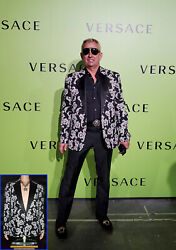 New Versace Brocade Tailor Made Blazer Jacket W/ Crystal Buttons 58 - 48