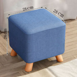2x Square Footstool Foot Rest Stool Pouffe Padded Wooden Seat Chair Stools