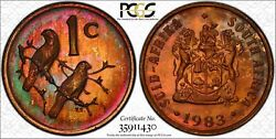 1983 South Africa 1c Pcgs Pr66rb Superb Green Purple Color Toned 2 Graded Higher