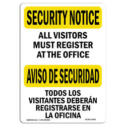 Osha Security Notice Sign - Visitors Must Register Bilingual | made In The Usa