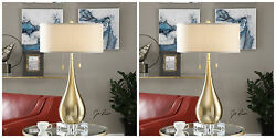 Two Modern Brushed Brass Plate Metal Table Lamp Linen Shade Crystal Base