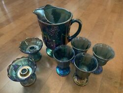 Carnival Glass - Iridescent Blue Pitcher Goblets And Candlestick Holder