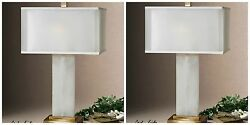 Two New 29 Alabaster Stone Table Lamp Coffee Bronze Metal White Shade Light