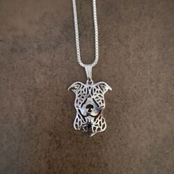 STAFFORDSHIRE BULL TERRIER STAFFIE PENDANT WITH 18quot; SILVER NECKLACE GIFT BAG