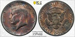 1965-p 40 Silver Kennedy Half Dollar Pcgs Ms63 Monster Toned Unc Bu Color Dr