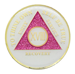 18 Year Aa Coin Pink Glitter Glow In The Dark Alcoholics Anonymous Medallion