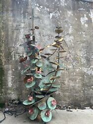 Vintage Brass Water Fountain Fish Lily Pads Curtis Jere Style