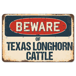 Beware Of Texas Longhorn Cattle Rustic Sign Signmission Classic Decoration