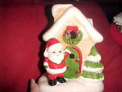 CHRISTMAS COTTAGE WITH SANTA TEA LITE CANDLE HOLDER