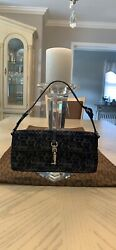 AUTHENTIC COACH METALLIC BLACK SILVER CLUTCH SHOULDER HANDBAG $40.00