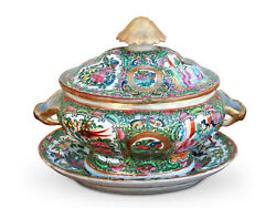 1820's Rare Chinese Export Rose Medallion Sauce Tureen With Orig. Underplate
