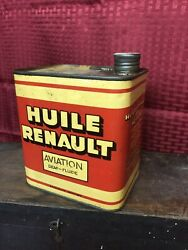Rare Renault Aviation Airplane Oil French Huile Square 1/2 Gallon Vintage Can