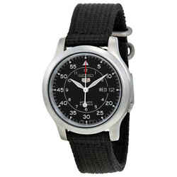 Seiko 5 Black Dial Black Canvas Automatic Menand039s Watch Snk809