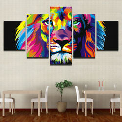 Colorful abstract art Lion 5 Pcs Canvas Print Poster HOME DECOR Hang Picture