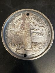 Rare Bunker Hill Monument Charleston, Mass Large 3 Medal With Buffalo On Back