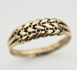 Antique 9ct Keeper Ring Mens Womens Jewellery Yellow Gold Jewelry Sz N 9k Carat