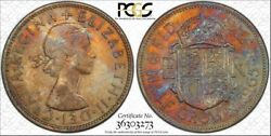 1965 Great Britain Half Crown Pcgs Au58 Color Toned Coin Only 4 Graded Higher