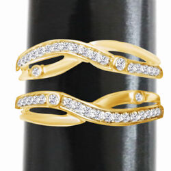 0.35 Ct 14k Yellow Gold Antique Vintage Ring Guard Jacket Solitaire Enhancer