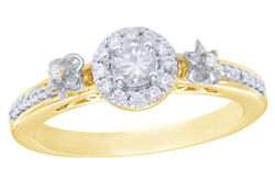 1/3 Ct Natural Diamond Frame Flower Engagement Ring 10k Two-tone Yellow Gold