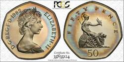 1982 Great Britain 50 Pence Pcgs Pr67dcam Toned Pop 2 Only 4 Finer Worldwide