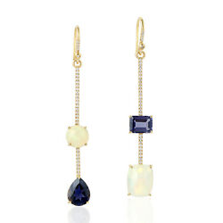 Memorial Day Gift 8.06ct Natural Iolite Dangle Earrings 18k Yellow Gold Jewelry