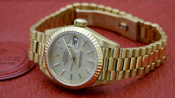Rolex Datejust President Rare Tapestry Dial 18KT Gold Ladies With Box Papers