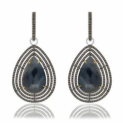 37.72 Ct Blue Slice Sapphire And Diamond 18k Gold And Sterling Dangle Earrings