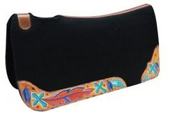 Showman 30x32x1 Black Felt Saddle Pad W/ Painted Cross And Feather Design New
