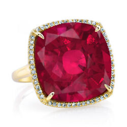 11.5 Ct Cushion Cut Ruby And Simulated Solid 14k Yellow Gold Halo Engagement Ring