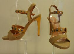 💗 LUXURY REBEL ANDE Caramel Camel Designer Hi Heel Sandal Shoes  7.5B $34.94