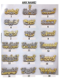 Personalized Sterling Silver Script Double Any Name Plate Necklace w Free Chain $38.18