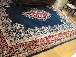 Oriental Carpet, Thick, Excellent Condition Blue, Red Ivory Colors, 9 Ft X 12 Ft